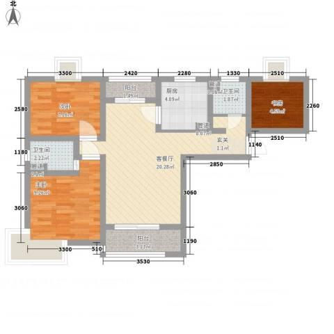 广南里3室1厅2卫1厨83.00㎡户型图