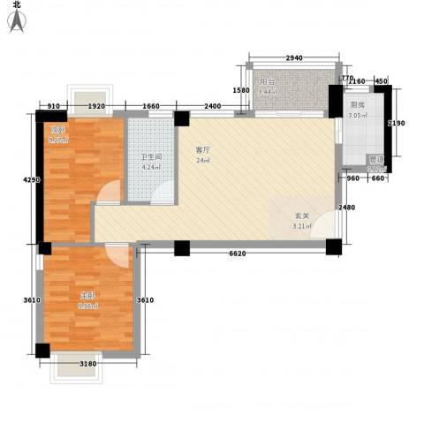 香悦美地2室1厅1卫1厨78.00㎡户型图