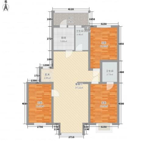 黎明水晶园3室1厅2卫1厨131.00㎡户型图