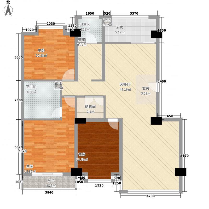 永利金色花园182.14㎡D2-1户型3室2厅2卫1厨