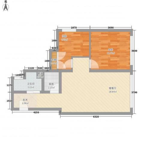 丽柏国际公寓2室1厅1卫1厨78.00㎡户型图
