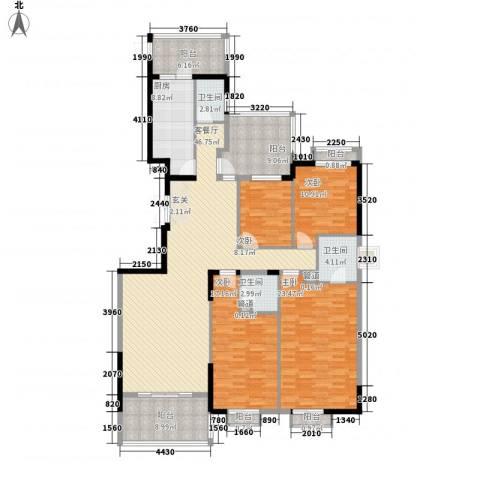 建鸿达华都4室1厅3卫1厨215.00㎡户型图