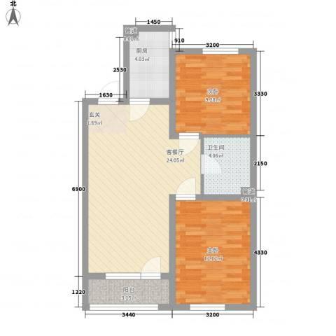 黎明水晶园2室1厅1卫1厨82.00㎡户型图