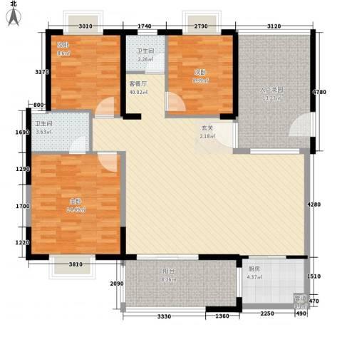 马銮公寓3室1厅2卫1厨144.00㎡户型图