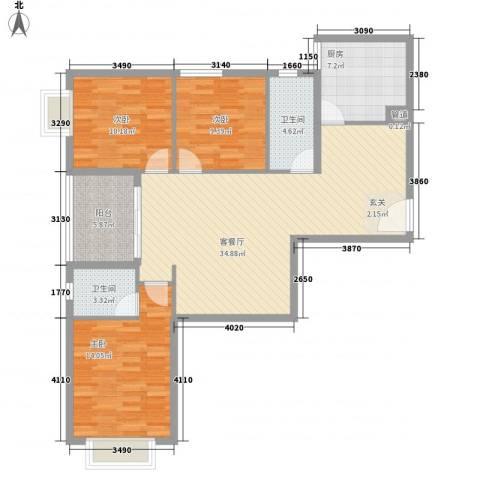 天一名居3室1厅2卫1厨126.00㎡户型图