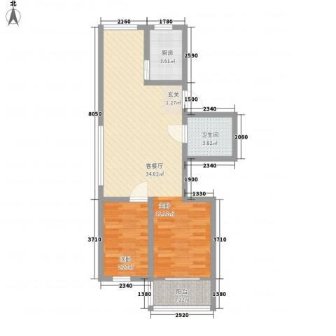 清河苑1室1厅1卫1厨76.00㎡户型图