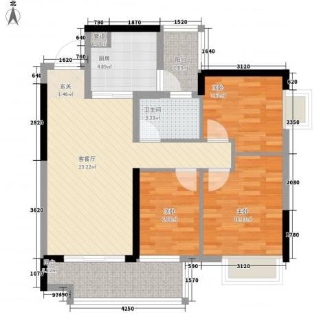 中粮万科金域蓝湾3室1厅1卫1厨95.00㎡户型图