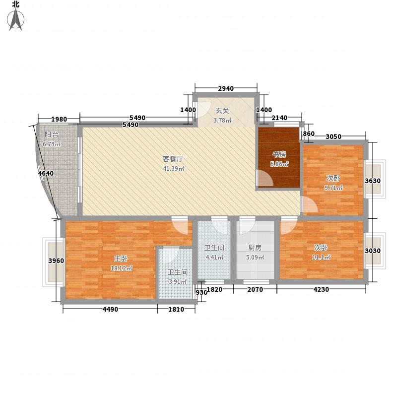 玉树苑121.82㎡玉树苑户型图4室2厅2卫1厨户型10室