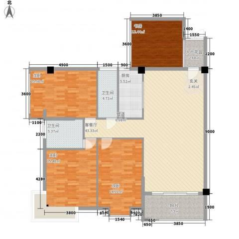 禹洲香槟城4室1厅2卫1厨129.10㎡户型图