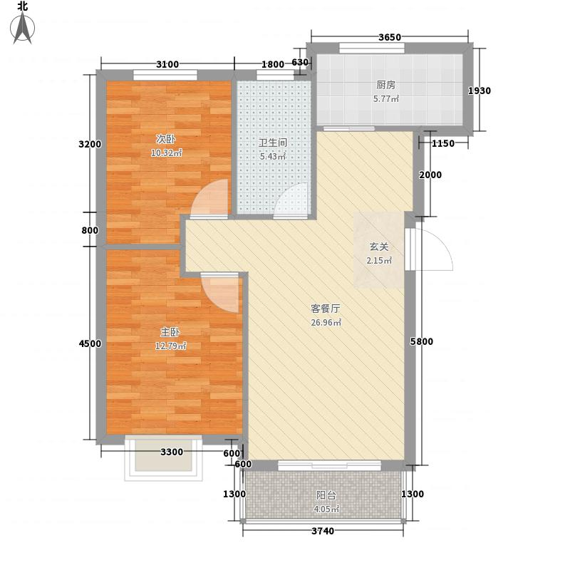 第8区88.00㎡4#号楼G户型2室2厅1卫1厨