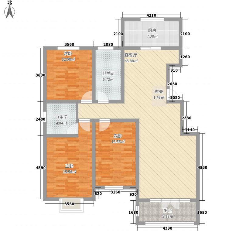 首创・国际学园3室1厅2卫1厨110.02㎡户型图