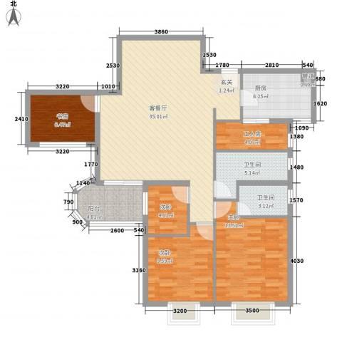 天一名居4室1厅2卫1厨131.00㎡户型图