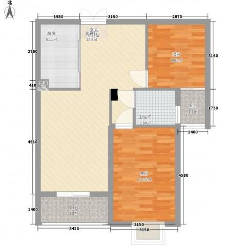美罗嘉苑2室1厅1卫1厨85.00㎡户型图