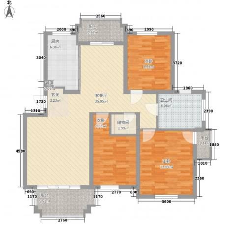 泓润花园3室1厅1卫1厨134.00㎡户型图