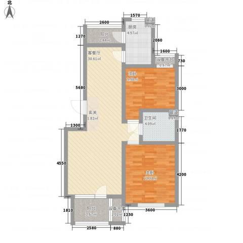 艺术家园2室1厅1卫1厨105.00㎡户型图
