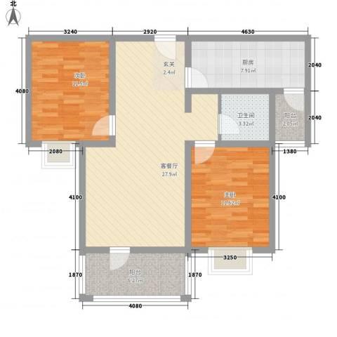 天星锦苑2室1厅1卫1厨81.70㎡户型图