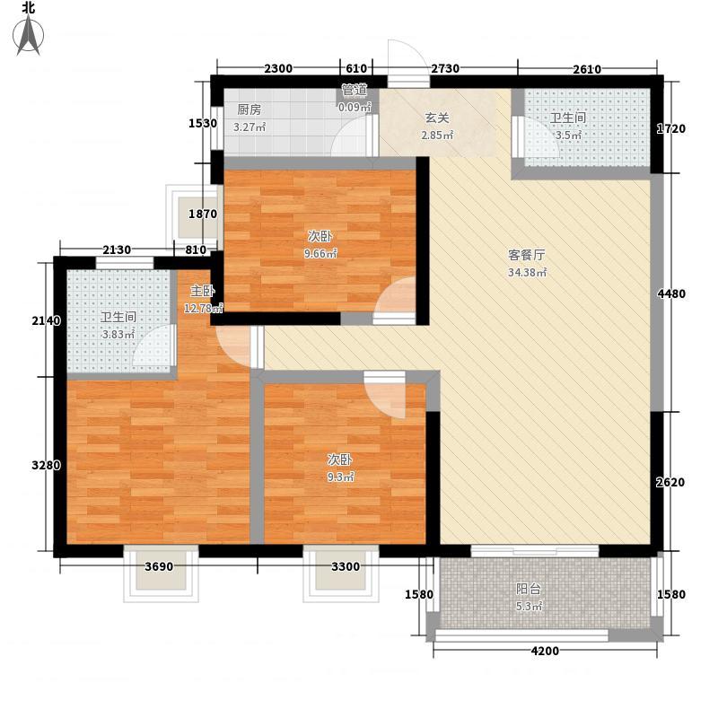 市政家园定西路小区B户型:三房两厅一卫,122.47平米_调整大小户型3室