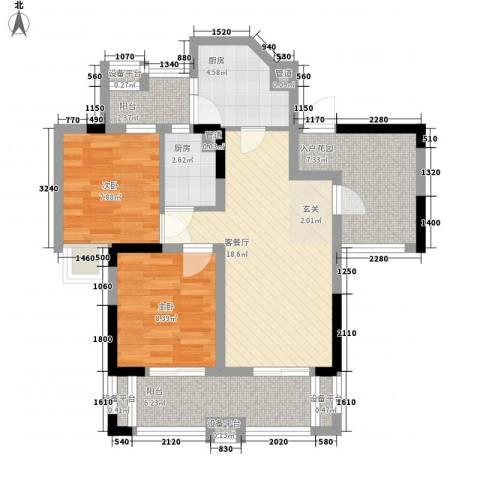 中信森林湖2室1厅0卫2厨72.00㎡户型图