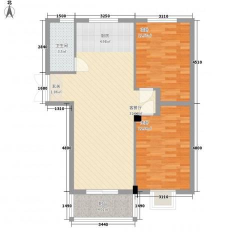 美罗嘉苑2室1厅1卫0厨89.00㎡户型图