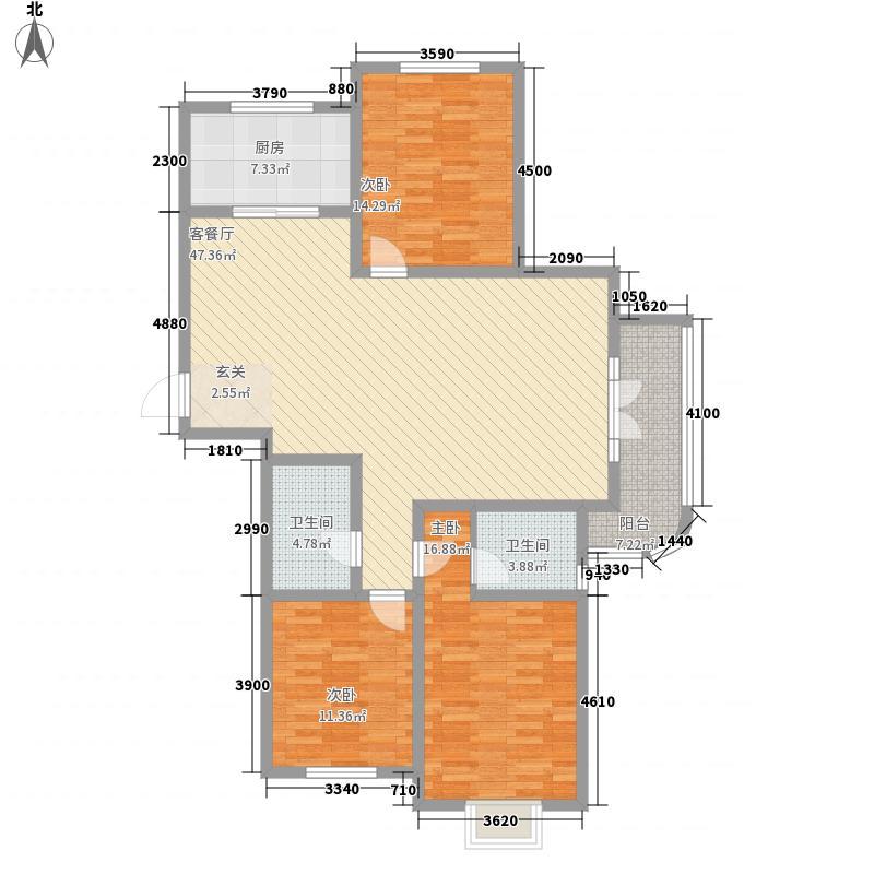 首创・国际学园3室1厅2卫1厨158.00㎡户型图