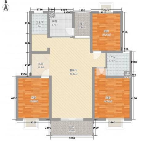 昕源佳苑3室1厅2卫1厨113.21㎡户型图