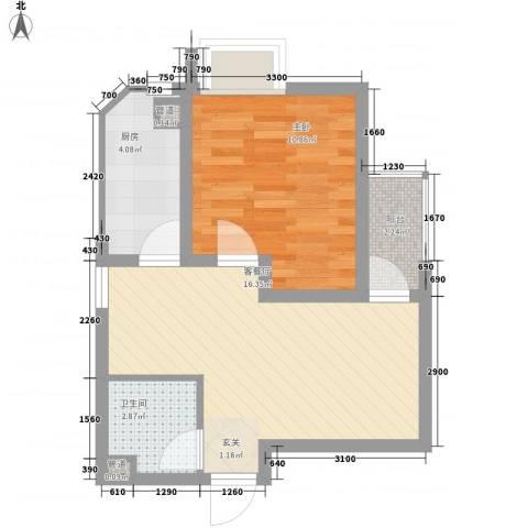 世纪中央城1室1厅1卫1厨47.00㎡户型图