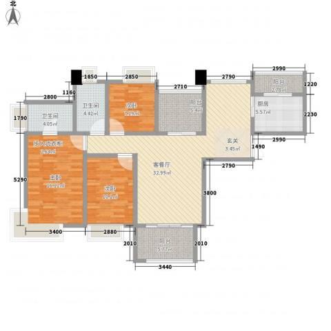 世茂江滨花园3室1厅2卫1厨136.00㎡户型图