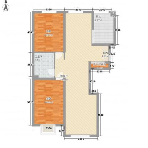 东区国际2室1厅1卫1厨126.00㎡户型图