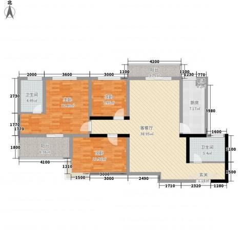 祯祥国际3室1厅2卫1厨140.00㎡户型图