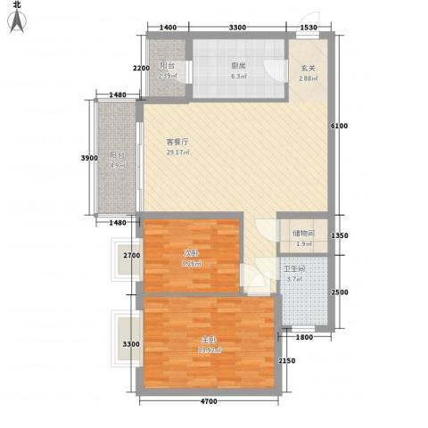 绿家园2室1厅1卫1厨79.93㎡户型图