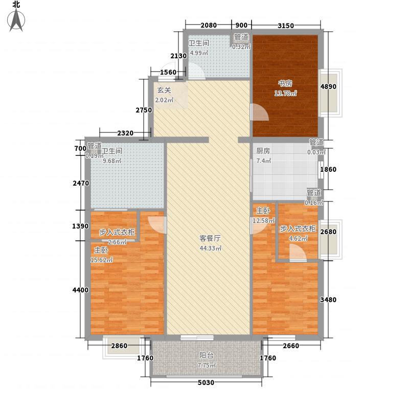 盛德紫阙3室1厅2卫1厨172.00㎡户型图