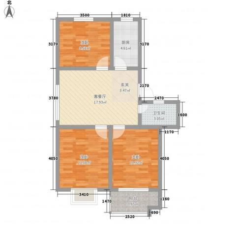 怡和花园3室1厅1卫1厨62.20㎡户型图