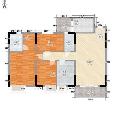 东丽花园3室1厅3卫1厨111.57㎡户型图