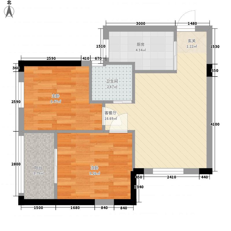 天下龙岭广场2室1厅1卫1厨64.00㎡户型图