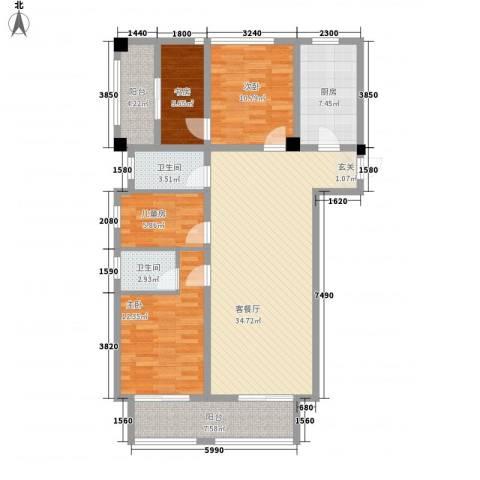 先锋银座4室1厅2卫1厨137.00㎡户型图