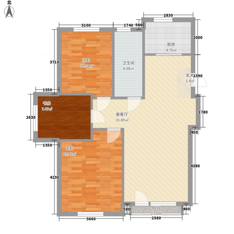 万棵树3室1厅1卫1厨77.04㎡户型图