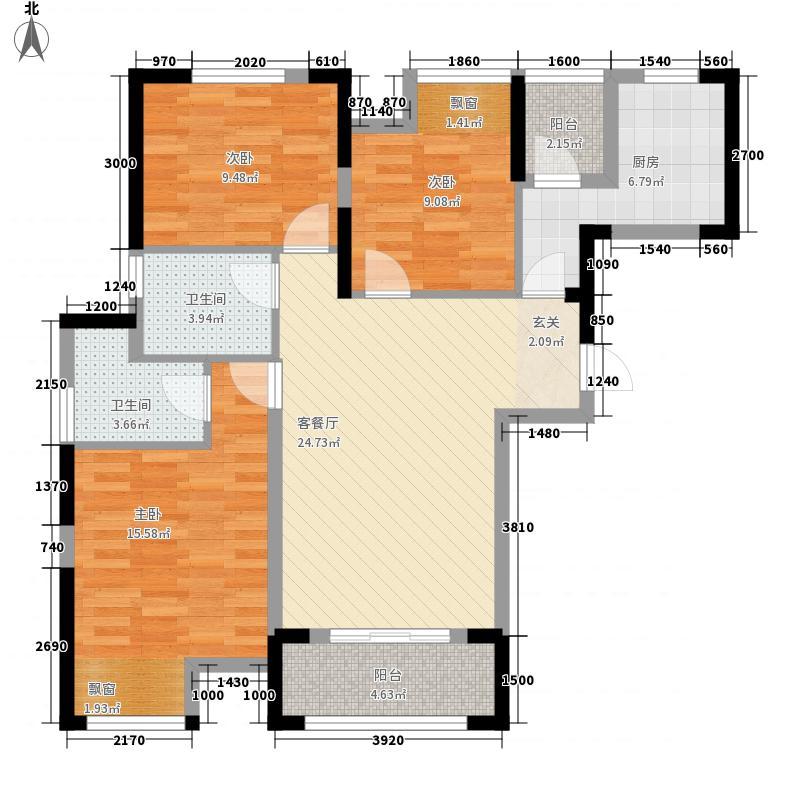 维佳武昌府二期和郡3室1厅2卫1厨112.00㎡户型图