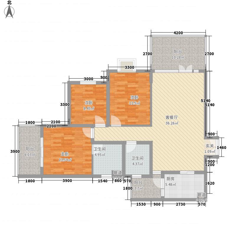 学府苑3室1厅2卫1厨105.81㎡户型图
