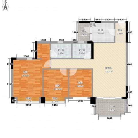 金华花园3室1厅2卫1厨114.00㎡户型图
