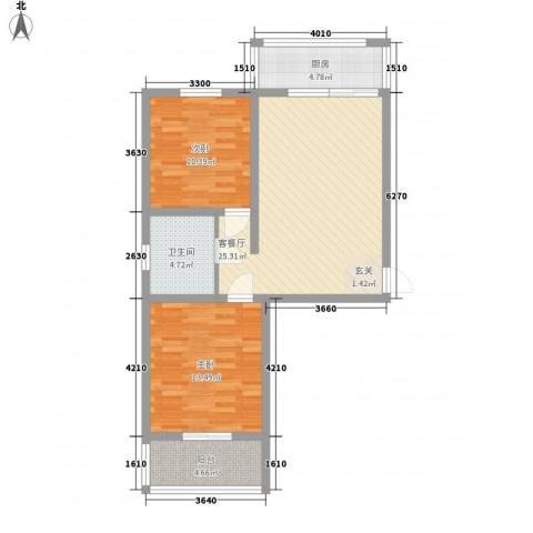 城市新苑2室1厅1卫1厨82.00㎡户型图