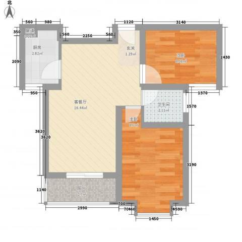 留芳声巷2室1厅1卫1厨57.00㎡户型图