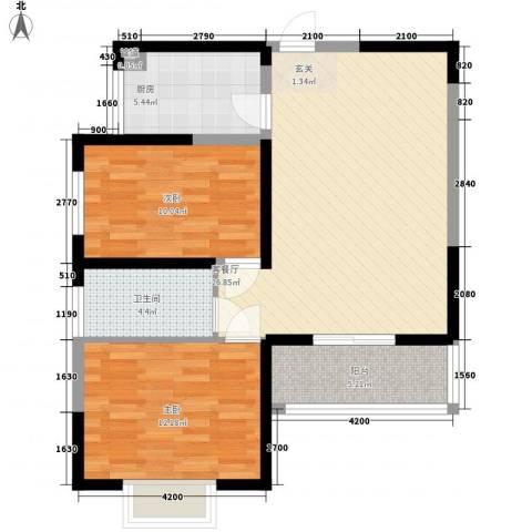 城市新苑2室1厅1卫1厨64.17㎡户型图