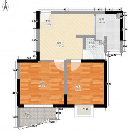 桃园大厦2室1厅1卫1厨66.00㎡户型图