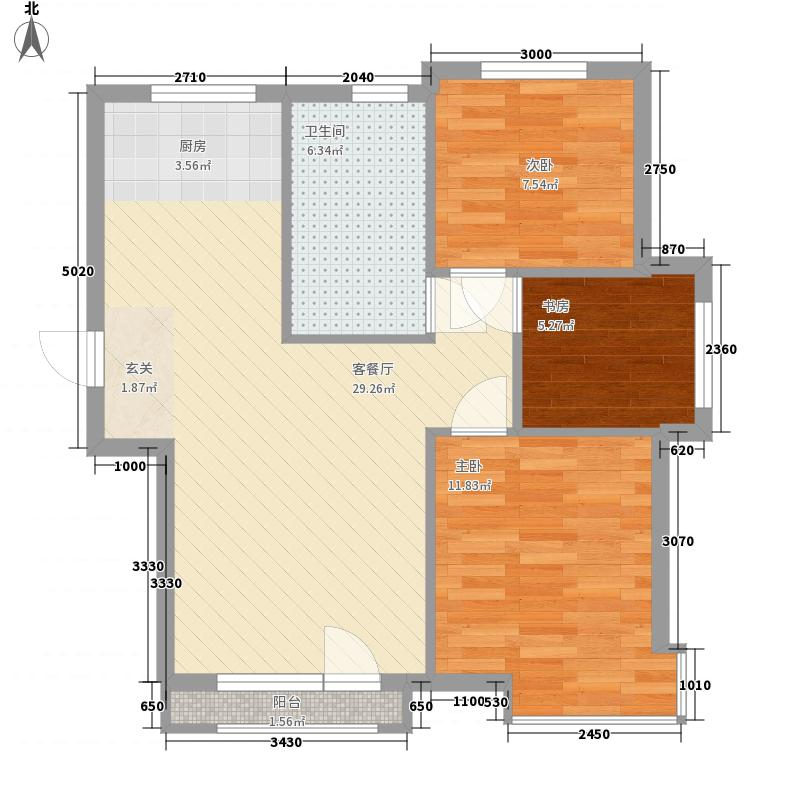 万棵树13号楼B7户型3室2厅1卫1厨