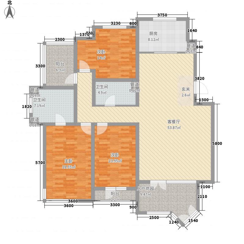 城投・北湖湾162.00㎡洋房E户型3室2厅2卫1厨