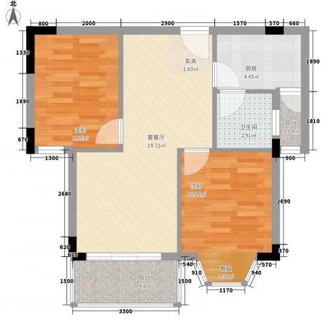 安乐街坊2室1厅1卫1厨73.00㎡户型图
