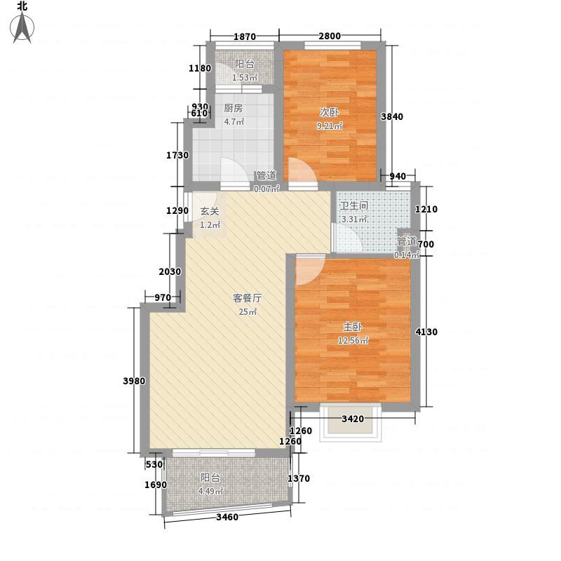 威尼斯花园2室1厅1卫1厨61.00㎡户型图