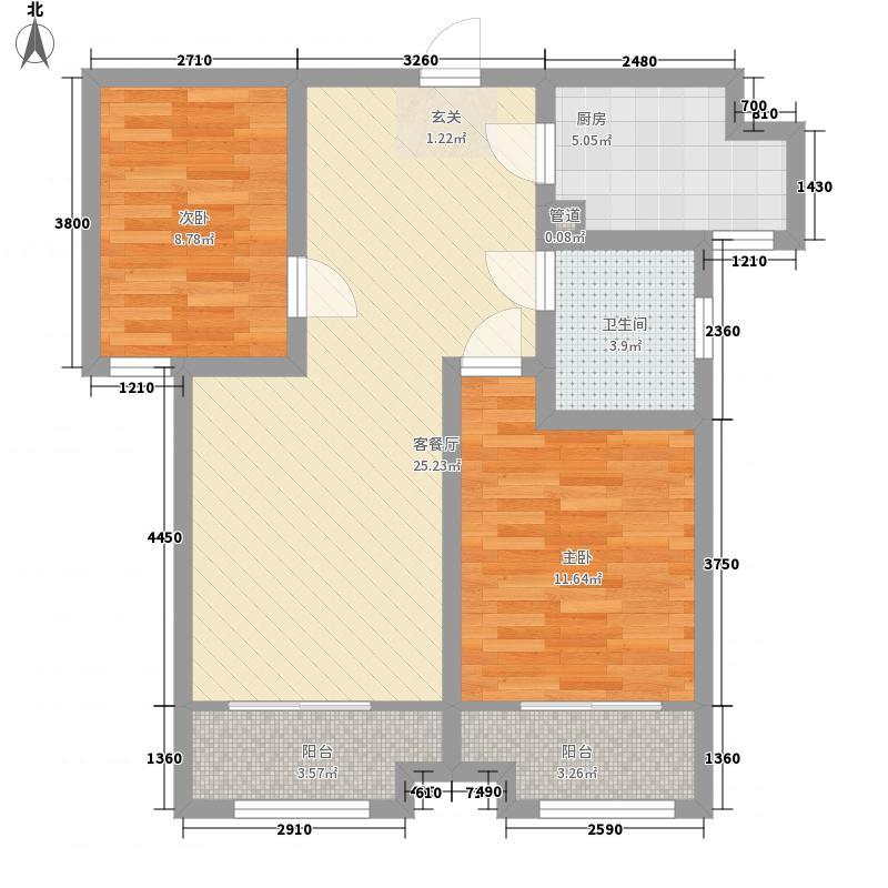 绿地泉景嘉园2室1厅1卫1厨61.51㎡户型图