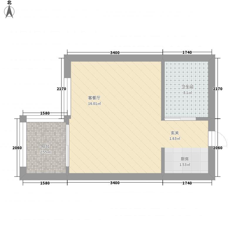 天下龙岭广场0室1厅1卫0厨31.00㎡户型图