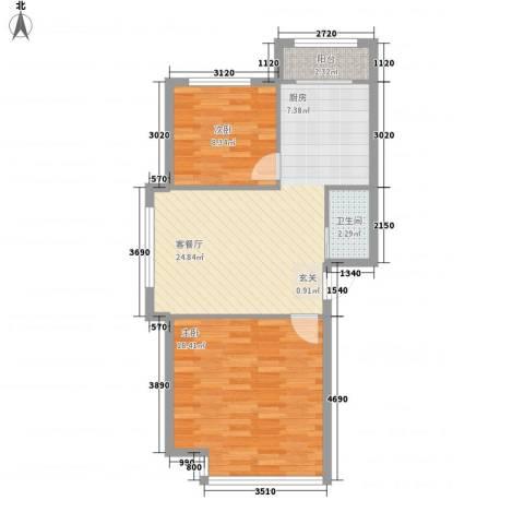 金山国际2室1厅1卫0厨78.00㎡户型图